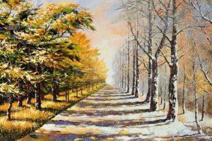 نقاشی باغراه زمستانی