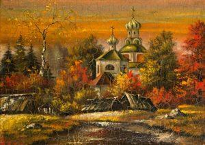 نقاشی کلیسای قدیمی روستایی