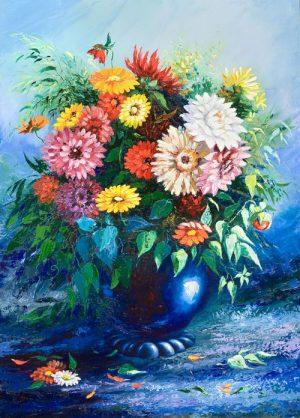 نقاشی دسته گل در گلدان