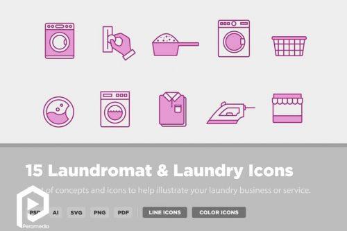 آیکون های خشکشویی و لباسشویی