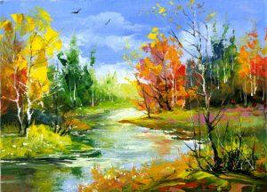 نقاشی طبیعت روستایی
