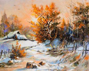 نقاشی روستا در زمستان