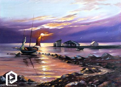 نقاشی قایق ماهیگیری در غروب آفتاب
