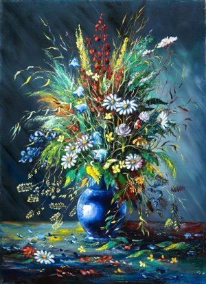 نقاشی گلدون اطلسی